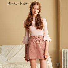 BANANA BABY新款系带高腰半裙英伦风优雅百搭半身裙A字裙D63Q605
