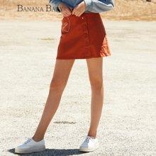 BANANA BABY韩版新款高腰A字短裙时尚单排扣修身百搭半身裙女D63Q003