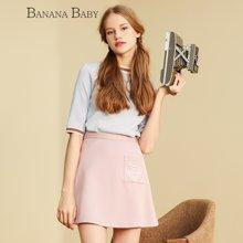 BANANA BABY新款半裙甜美可爱风简约百搭半身裙短裙A字裙D63Q066