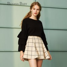 BANANA BABY新款羊毛格子毛呢女士半身裙时尚英伦风伞裙D64Q070