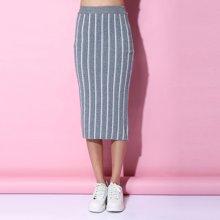 百依恋歌 新款韩版时尚修身条纹中长款包臀半身裙女 B16F061