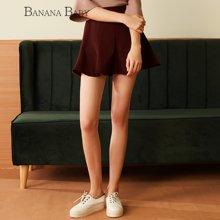 BANANA BABY新款韩版高腰深红色百搭半身裙女A型伞裙短裙D63Q079