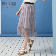 熙世界中长款纯色简约半身裙女夏装新款通勤简约裙子106LQ608
