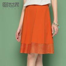 熙世界自然腰短裙子女夏装新款镂空纯色半身裙A字裙106SQ336