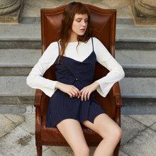 BANANA BABY2017春季新款韩版高腰条纹不对称半身裙女气质短裙D71Q044