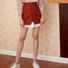 BANANA BABY新款高腰拼接个性半身裙韩版假两件A字半裙潮D73Q066