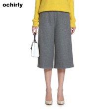 Ochirly欧时力 2016新女春装简约高腰毛呢七分裤阔腿裤 1154062360