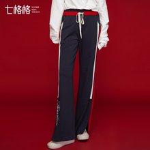 七格格 2017春装新款 运动侧条纹开衩休闲裤宽松显瘦阔腿裤女裤
