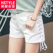 韩都衣舍2018韩版女装夏装新款直筒薄款白色休闲短裤YK7167鲲0228