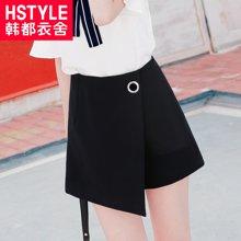 韩都衣舍18韩版女装夏装新纯色宽松圆环假两件休闲裤PC6330晽
