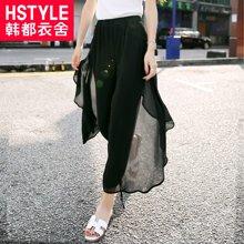 韩都衣舍2018韩版女装夏新款显瘦纯色灯笼休闲裤GS6593緈