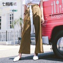 新品 七格格 时尚欧美风细条纹腰带装饰阔腿休闲裤女L708