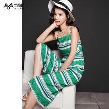 七格格夏装新款个性彩色条纹 背带八分阔腿休闲裤 女G011