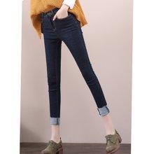 亿族 春秋装新款韩版弹力高腰牛仔裤女显瘦牛仔小脚裤九分裤G351A701