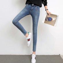 亿族 春秋装新款韩版高腰显瘦女弹力修身小脚裤牛仔裤69351A1699