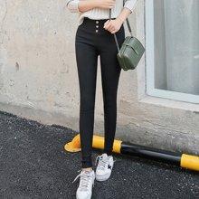百依恋歌 女士外穿打底裤黑色高腰小脚大码紧身长裤薄款铅笔裤 B152