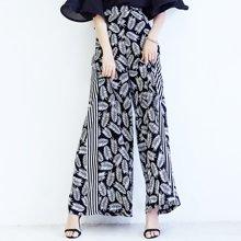 印花雪纺阔腿裤女夏季新款百搭高腰显瘦直筒长裤S17227