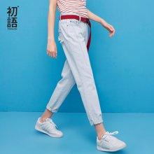 初语2018夏季新款 ulzzang 浅色洗水经典宽松直筒长裤牛仔裤女8821815020
