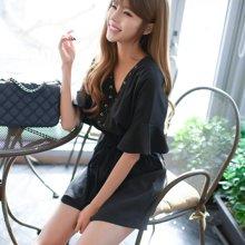 芃拉2017夏季新款韩版荷叶袖收腰V领绑带纯色连体阔腿裤裙F6873