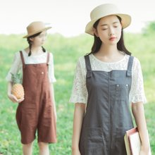 DOWISI2017夏季最新款韩版简约可爱纯色吊带裤ME8469