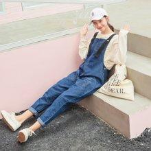DOWISI实拍韩国秋季新款织带撞色学院风宽松减龄百搭牛仔背带裤WRZS1959