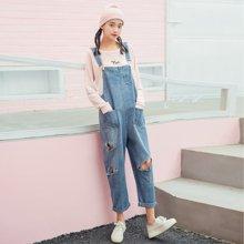 DOWISI实拍秋季新款复古水洗磨破宽松工装学生牛仔背带裤连体裤女WRZS1960