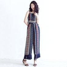 薇语馨民族风印花两件套阔腿裤套装 夏季新款个性时尚拼接流苏背心S16817