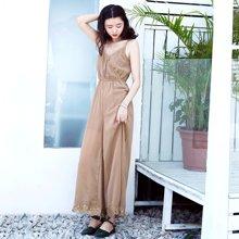 薇语馨雪纺V领性感吊带连体裤 夏季新款纯色宽松时尚拼接蕾 丝长裤S17538