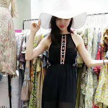 薇语馨刺绣吊带连体裤S17719