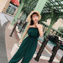 DOWISI2018夏季女装新款韩版高腰抹胸侧开叉绑带连体裤F63406340