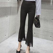 妙芙琳 2017春夏新款修身弹力松紧腰7分蕾丝拼接喇叭裤 九分裤
