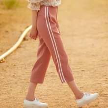BANANA BABY2017夏季新款时尚高腰直筒裤女休闲运动风九分裤D72K758