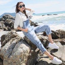 芃拉实拍现货2017新款 欧美风时尚大牌破洞宽松牛仔裤吊带裤女JDD62235