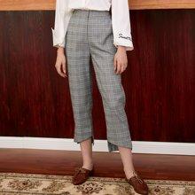 BANANA BABY2017秋装新款英伦格子高腰九分裤女时尚休闲裤铅笔裤D73K037