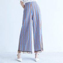 薇语馨手工织带钉珠阔腿裤女夏季新款韩版竖条纹高腰显瘦九分裤女S17395