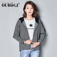OUBOGJ条纹外套女2017秋装新款韩版长袖短外套连帽上衣17C05817