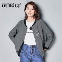 OUBOGJ条纹外套秋季2017新款韩版百搭上衣长袖宽松短外套17C03611