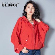 OUBOGJ红色秋装外套2017新款韩版宽松纯棉短外套连帽长袖17C16376