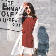 新品 七格格  马甲中长款女生2018春季装新款韩版个性chic百搭不规则无袖上衣潮