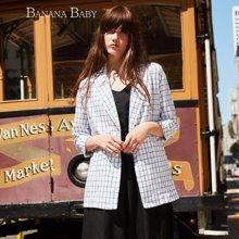 BANANA BABY韩版薄款休闲长袖格子西装外套女中长款上衣B61W056