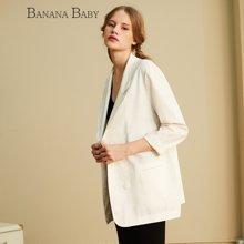BANANA BABY香蕉宝贝新款白色宽松休闲西装外套女装上衣C61W003