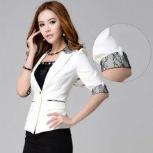 亿族 春秋装新款韩版修身职业蕾丝中袖短款女装小西装外套 YZ2918