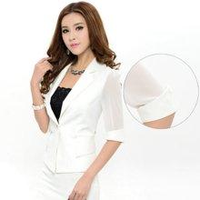 亿族 春秋装新款韩版修身职业蕾丝中袖短款女装小西装外套 2818YZ