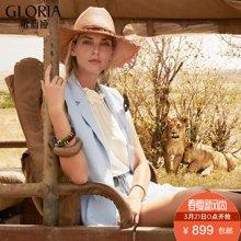 GLORIA/歌莉娅 初夏新品麻质西装短裤套装 173J1E03A