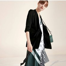 Lily 夏新款女装商务系带中长款七分袖西装外套 117230C2120