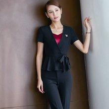 亿族 2018夏季新款韩版修身短袖小西装套裙销售商务白领工作服职业装 YZN969