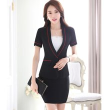 亿族 2018春夏装新款修身短袖工装西服女士套裙职业装正装工作服 YZ7061