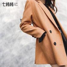 8.27新品 七格格2017秋新款西装领通勤优雅知性黑色焦糖色中长款长袖外套