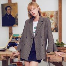 BANANA BABY2017秋冬新款韩版复古格子西装女双排扣喇叭袖外套D74W811