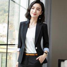 亿族 2018春夏装新款通勤OL七分袖小西装职业装女修身工作服外套